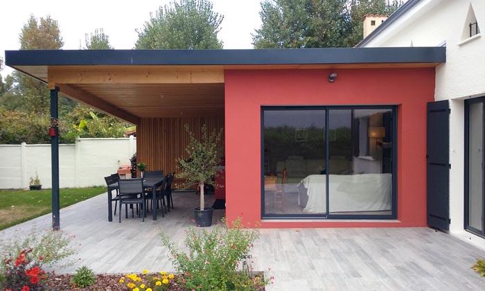 Extension avec terrasse couverte et r novation partielle - Extension de terrasse ...
